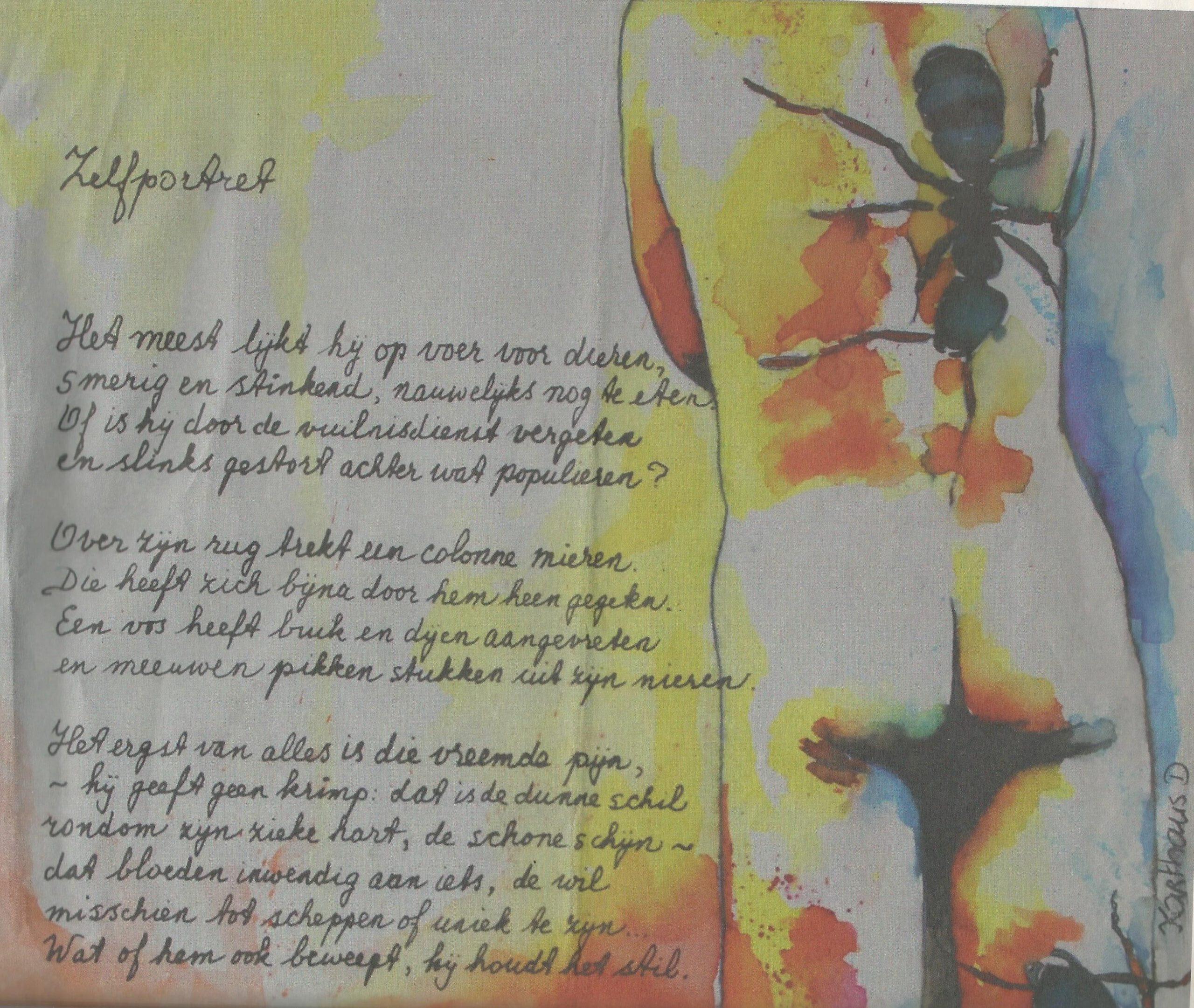 aquarel gemaakt voor een kunstkalender horend bij een gedicht van Jasper Mikkers
